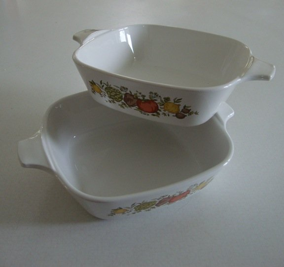 Vintage Corning Ware SPICE OF LIFE 1 3/4 Cup Petite Pan Individual Casserole Set of 2