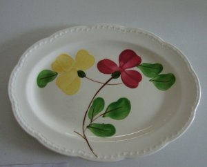 Vintage Stetson Handpainted Red Yellow Floral Heritage Ware Oval Platter