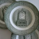 Royal USA Green Old Curiosity Bread Plate (Clock) - Hinges Set of 6