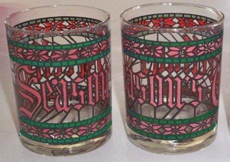 Vintage 1980 Anchor Hocking Houze Art Season's Greetings Old Fashioned Glass - Set of 2
