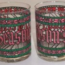 Vintage 1980 Anchor Hocking Houze Art Season's Greetings Old Fashioned Glass - Set of 2