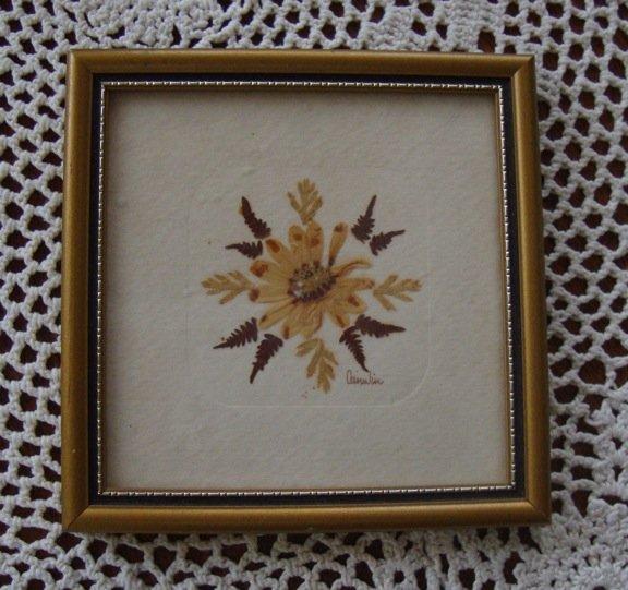 Vintage Village Green Country Crafts Real English Flower Framed Art