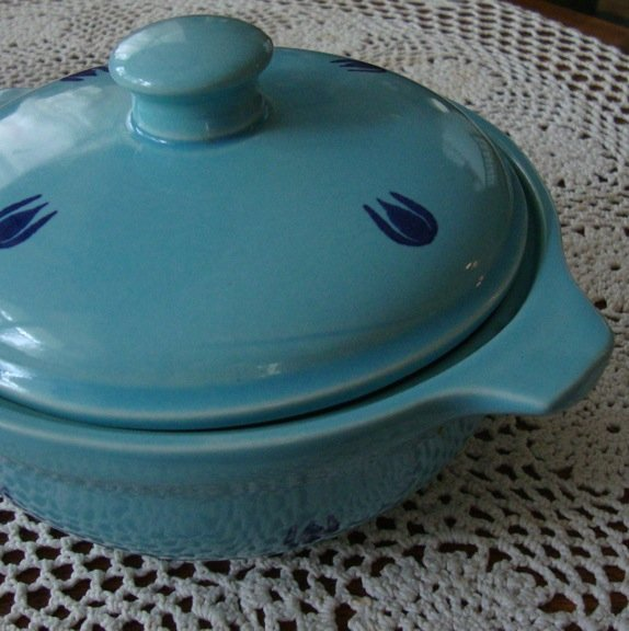 Vintage Cronin Blue Tulips Casserole with Lid