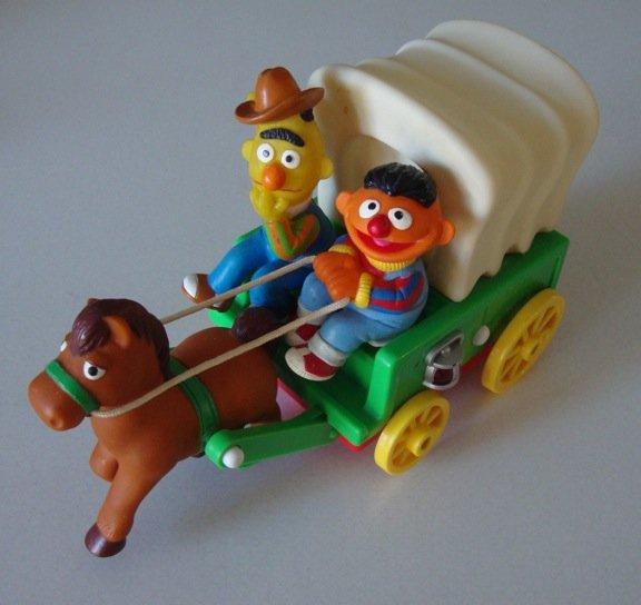 Vintage 1993 Tyco Sesame Street Bert & Ernie Horse & Wagon Moving Toy