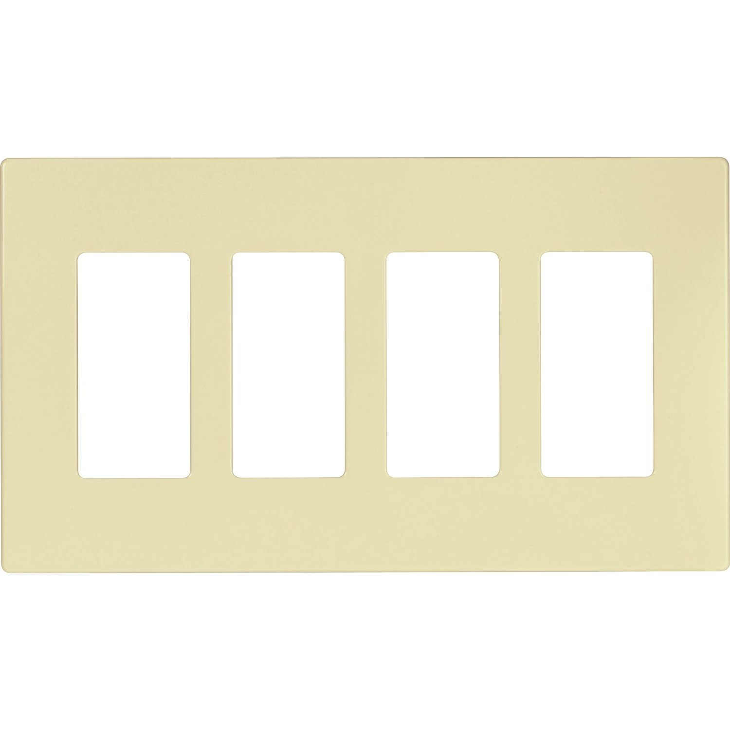 Set of 2 - Cooper Wiring Devices PJS264A Decorator Screwless Wallplate 4-Gang - Almond