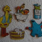Vintage 5 pc Sesame Street Bathtime Pressboard Wall Plaques