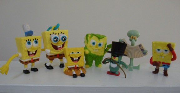 Burger King Sponge Bob Squarepants Plastic Figurines Lot of 7