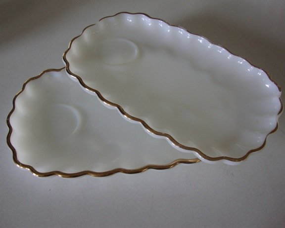 Vintage Anchor Hocking Fire King Rachel / Classic Milk Glass Snack Plate only - Set of 4