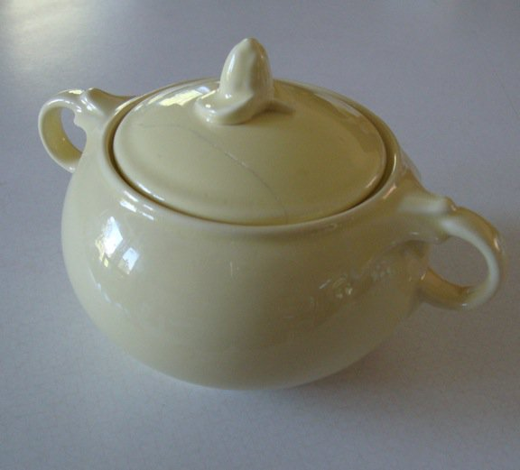 Vintage Taylor Smith and Taylor LuRay Pastels Yellow Sugar Bowl w/ Repaired Lid