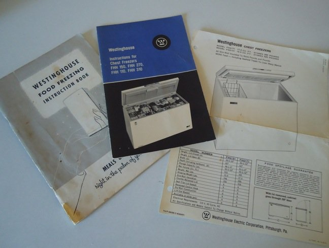 Vintage Westinghouse Chest Freezer &  Food Freezing Instruction Book
