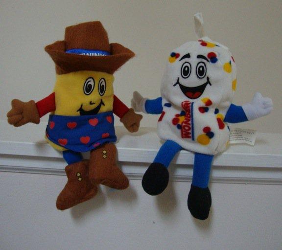 Vintage 1999 Snackin Friends Twinkie the Kid  & Freddy Fresh Guy Advertising Bean Bag Toys