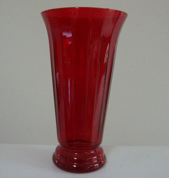 Vintage Indiana Glass Ruby Red Roman Column Vase #31696