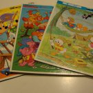 Vintage 1984-5 Golden Extra Thick Frame-Tray Disney Puzzles Set of 3