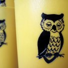 Vintage 1980s Nasco Owl Yellow Plastic Tumbler - Set of 4