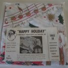 Vintage 1950s Happy Holiday Christmas Plastic Tablecloth & Napkin Set in Original Wrap