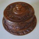 Vintage WWII Hand Carved Teak Wood Covered Cake Plate Server