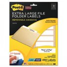 New Post-it 2100J - Super Sticky Removable File Folder Labels 15/16 x 3 7/16 White