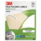 Set of 2 New 3M 3700F Permanent Adhesive White Recycled Mailing Labels 2/3 x 3-7/16 1500/Pack