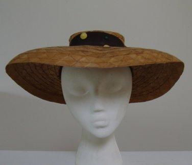 Vintage 1930s (?) Raffia Brim Sun Hat