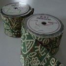 Vintage Decorator Green/Sand Symbols Craft Floral Ribbon 50 yds