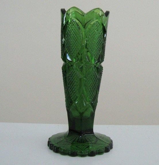 Vintage McKee I-H-C Pattern Glass Green Bud Vase