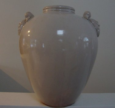 Three Hands Corp Large Vase 95199 Creamy White Glaze