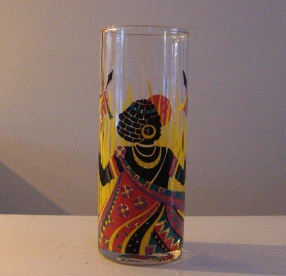 Vintage African Warrior Glass Tumbler