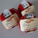 FibraNatura Sensational Merino Wool Fire Red Lot of 3