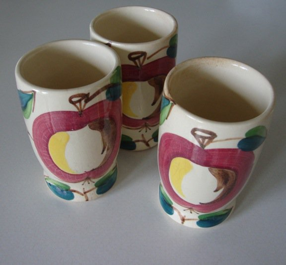 Vintage PURINTON Apple & Leaves Ice Tea Tumbler - Set of 3