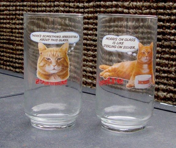 Vintage 9 Lives Morris the Cat Glass Tumbler - Set of Two