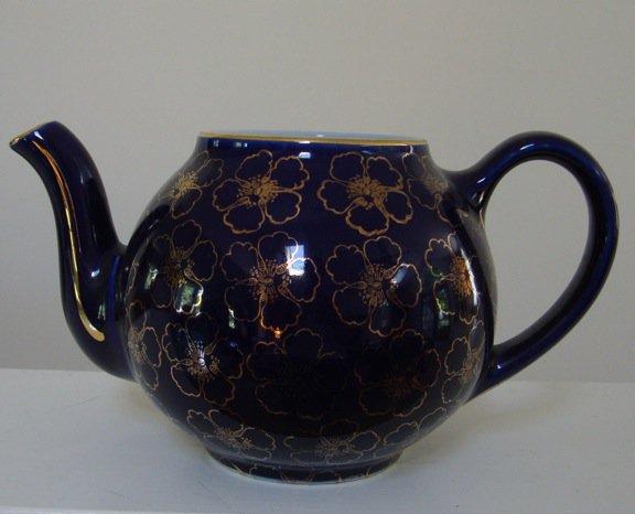 Vintage Hall French Flower Cobalt Standard Gold Teapot - No Lid