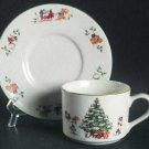 Vintage China Pearl Magical Christmas Cup & Saucer  Set of 2