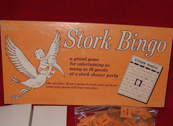 Vintage Baby Shower Game Stork Bingo