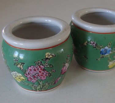 Miniature Hand-Decorated Jardiniere Flower Pot Fish Bowl Set of 2