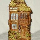 Vintage Stoneware Victorian House Wall Pocket Vase
