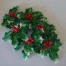 Vintage Plastic Holly Leaves w/ Berries Wall Hanging