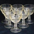 Vintage Banded Ring  / Ribbed Depression Era Sherry / Cordial Glass - Set of 10