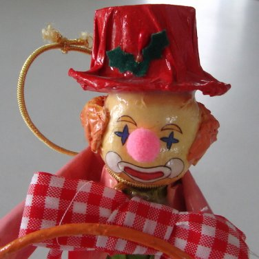 Vintage Papier Mache Circus Clown Ornament - Folk Art