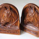 Vintage Syroco Wood Resin Horse Head Bookends ( 2 )