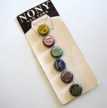 Vintage NONY New York Metal Soda Bottle Cap Button Covers On Card