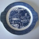 "Vintage Royal China CURRIER & IVES ""The Rocky Mountains"" Tab Handle Plate"