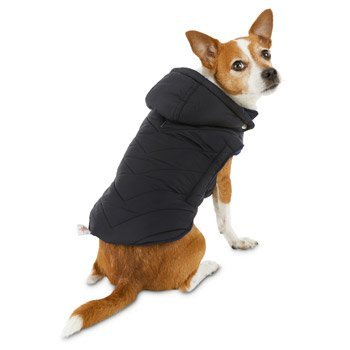 NWT Petco Good2Go Black Quilted / Blue Fleece Dog Parka, XL 2421651