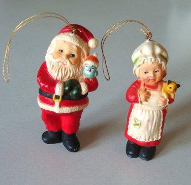 Vintage 1960s Santa Claus & Mrs. Claus Plastic Ornaments - Hong Kong