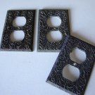Vintage Metal Scroll Single Electrical Outlet Plate Cover Set of 3