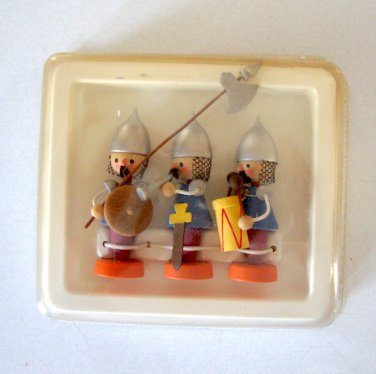 """Vintage 3"""" Wooden Toy Soldier / Knight Holiday Display Set"""