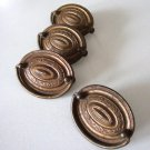 """Antique Hepplewhite Style 2 1/2"""" Stamped Brass Oval Bail Drawer Pull - Set of 4"""