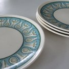 Vintage Geometric Blue and Green Salad Plate - Set of 4