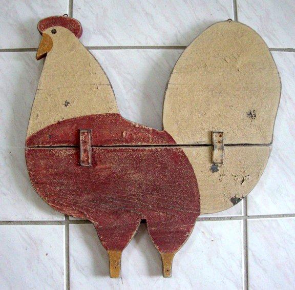 Antique / Primitive Wooden Rooster Advertising Sign