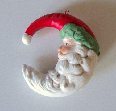 Santa Moon Porcelain / Bisque Ornament