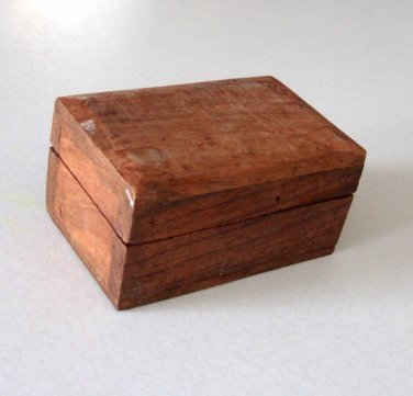 Vintage 1980s Small Teak Wood Box